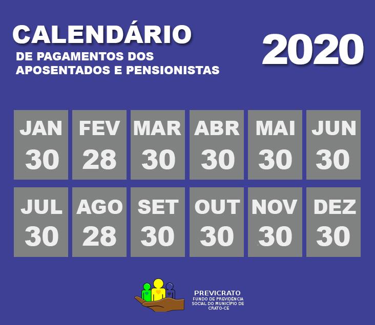 Calendário de Pagamentos 2020